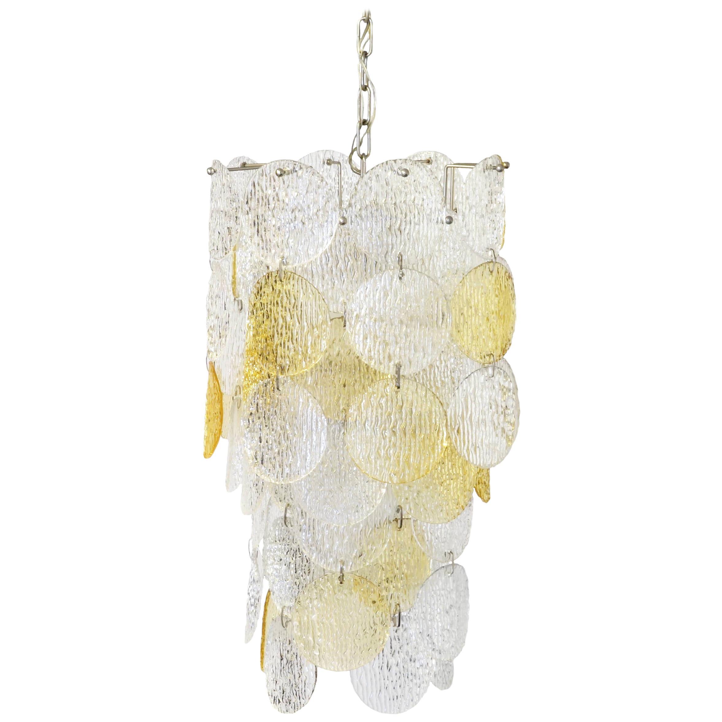 Chandelier Vistosi Torcello Murano Glass Pendant Italy 1970s Yellow White