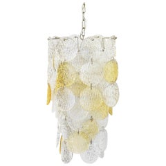 Chandelier Vistosi Torcello Murano Glass Pendant Italy 1970s Yellow White
