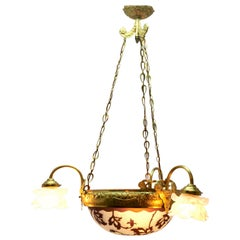 Chandelier Whit Large Central Glass Dome of Cameo Cast Brass with Three-Arms