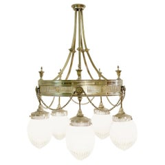 Chandelier with 5-Light in Silvered Bronze and Cut Crystal, France