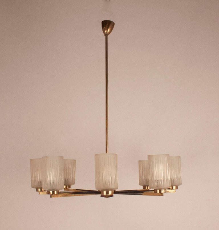 Chandelier with 8 lights, polished brass, black metal, glass lampshades. Germany, 1950s.