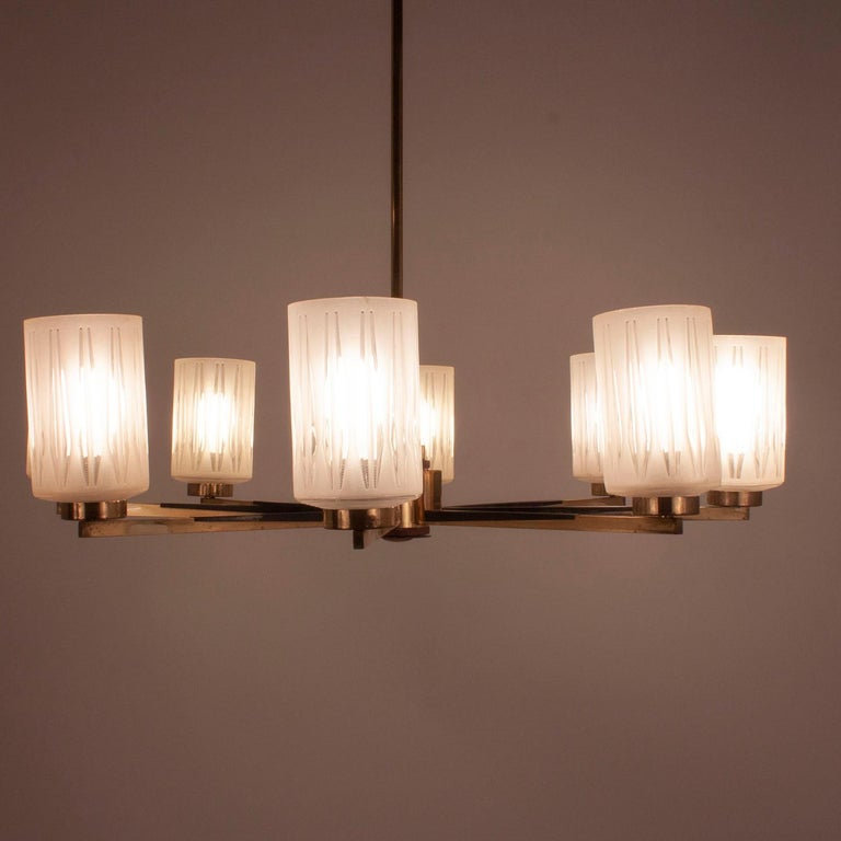 Chandelier with 8 Lights, Polished Brass, Glass Lampshades, Germany, 1950s In Good Condition For Sale In Barcelona, Cataluna