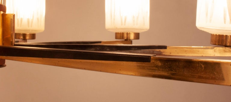 Chandelier with 8 Lights, Polished Brass, Glass Lampshades, Germany, 1950s For Sale 3