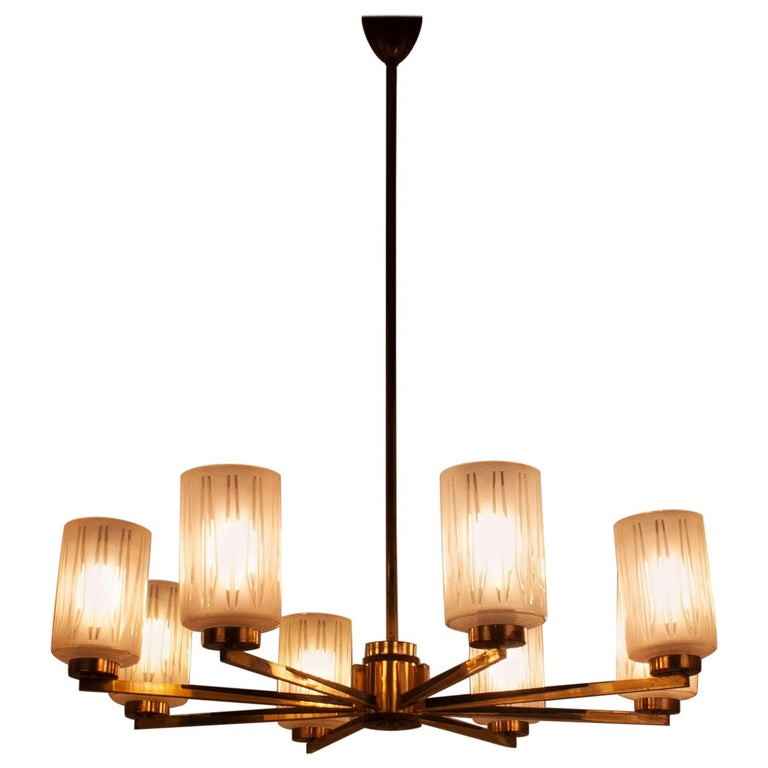 Chandelier with 8 Lights, Polished Brass, Glass Lampshades, Germany, 1950s For Sale