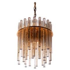 1960 Germany Palwa Chandelier Amber Murano Glass Rods & Gilt Brass