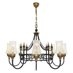 Chandelier with Blown Glass Chalices in Black Iron and Brass, 1930s