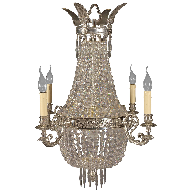 Chandelier with Brass in the Biedermeier Style