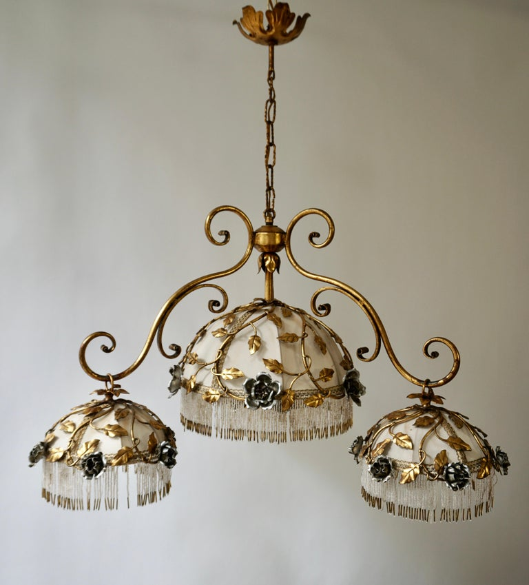 Chandelier with Brass Leaves and Silver Colored Roses For Sale 3