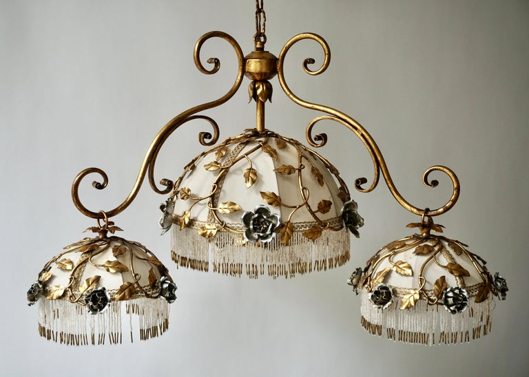 Chandelier with Brass Leaves and Silver Colored Roses For Sale 4
