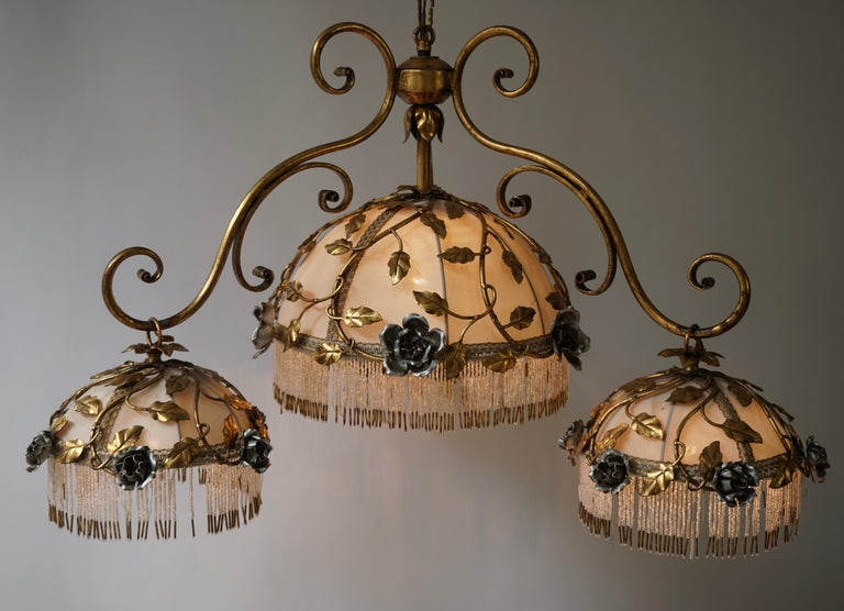 Chandelier with Brass Leaves and Silver Colored Roses For Sale 6