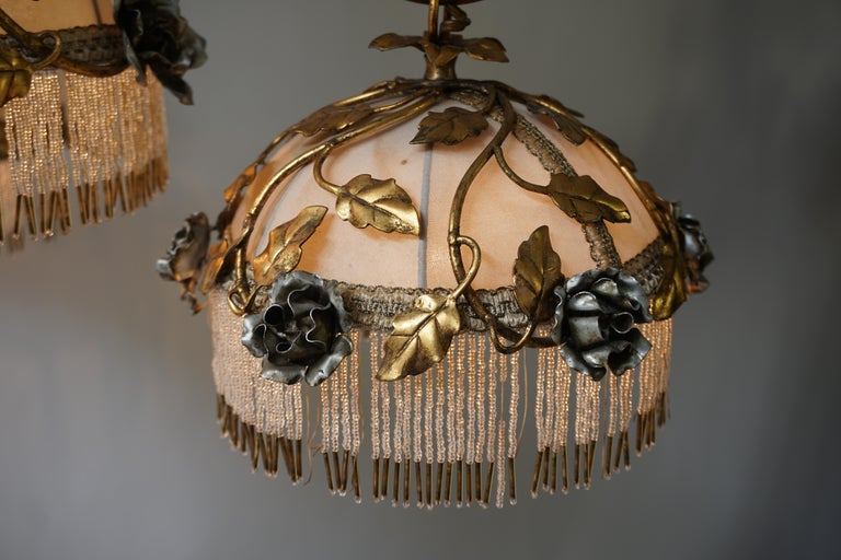 Chandelier with Brass Leaves and Silver Colored Roses For Sale 8