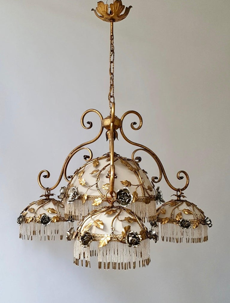 Hollywood Regency Chandelier with Brass Leaves and Silver Colored Roses For Sale