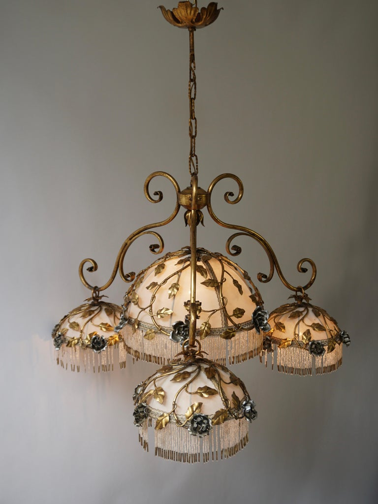 Italian Chandelier with Brass Leaves and Silver Colored Roses For Sale