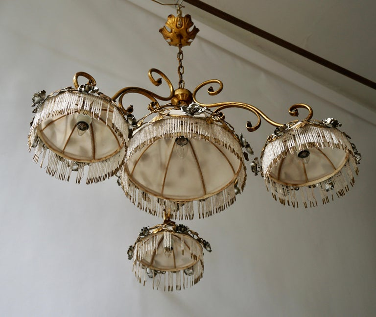 20th Century Chandelier with Brass Leaves and Silver Colored Roses For Sale
