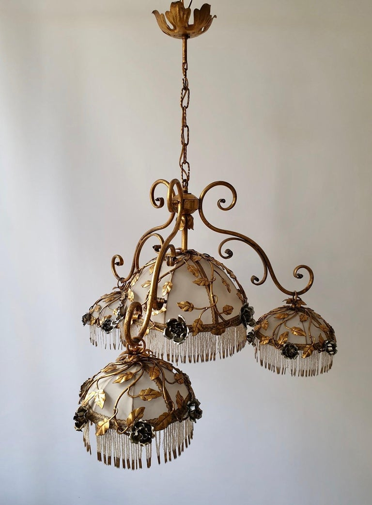 Chandelier with Brass Leaves and Silver Colored Roses For Sale 1