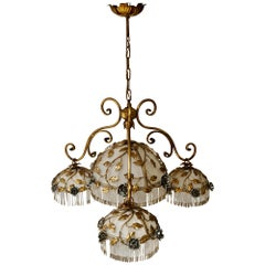 Chandelier with Brass Leaves and Silver Colored Roses
