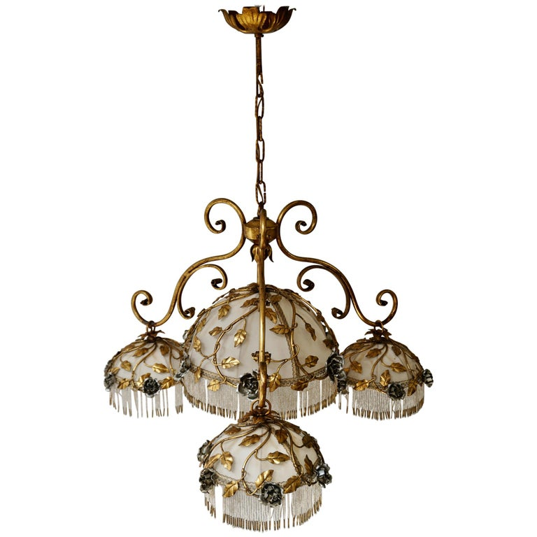 Chandelier with Brass Leaves and Silver Colored Roses For Sale