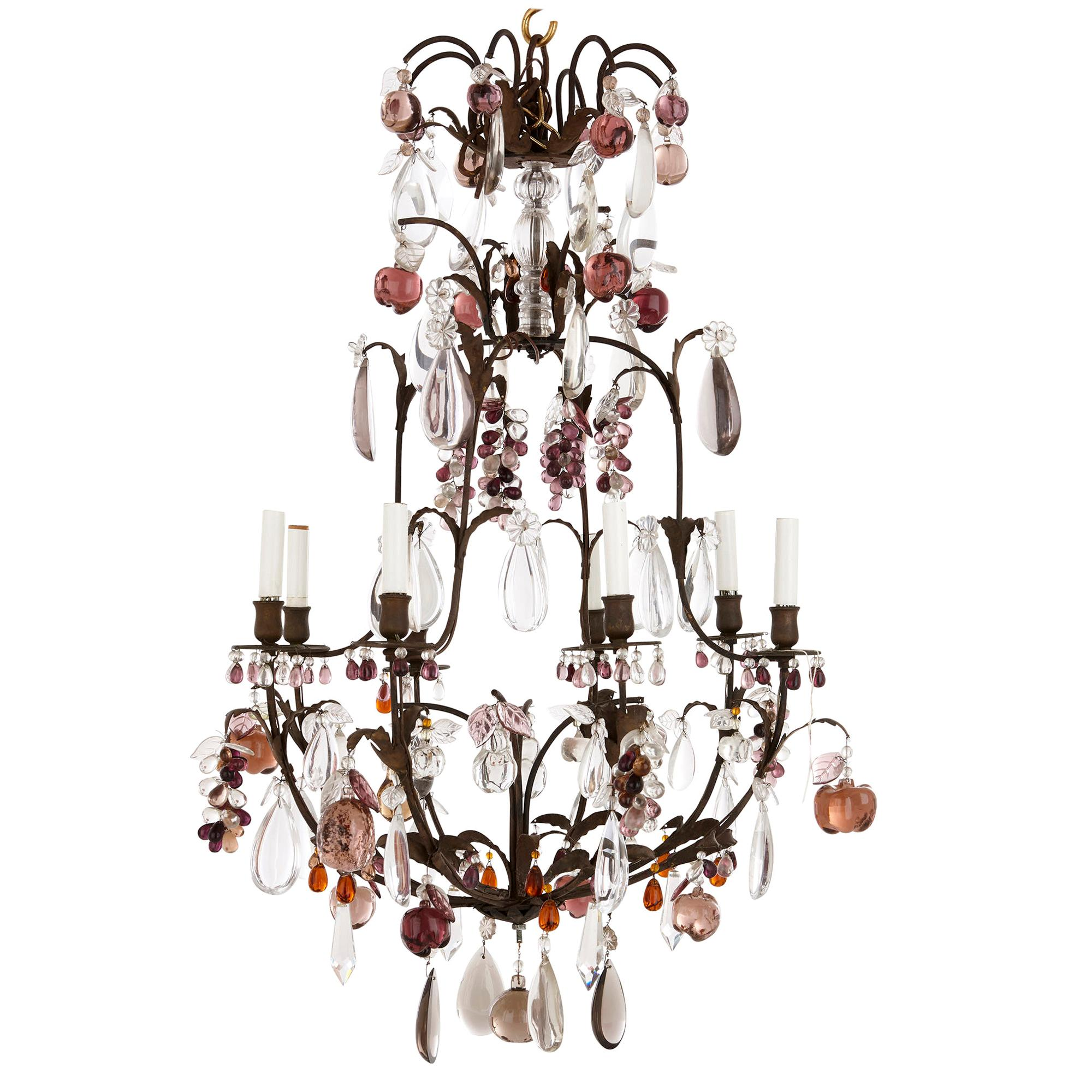 Chandelier with Colored Rock Crystal, Quartz and Glass Fruit Pendants