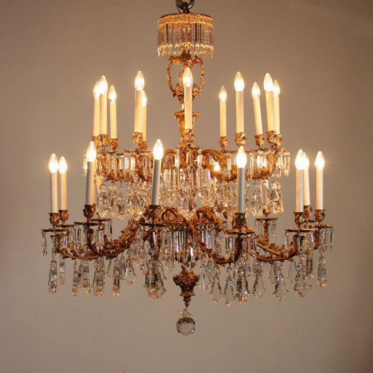 Other Chandelier with Crystal Drops, Italy, 20th Century For Sale