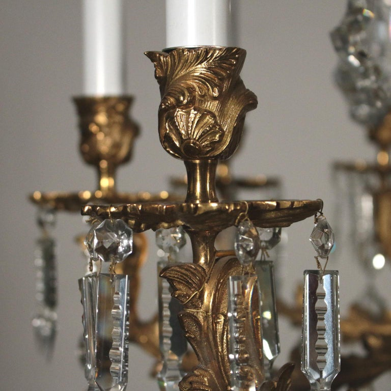 Italian Chandelier with Crystal Drops, Italy, 20th Century For Sale