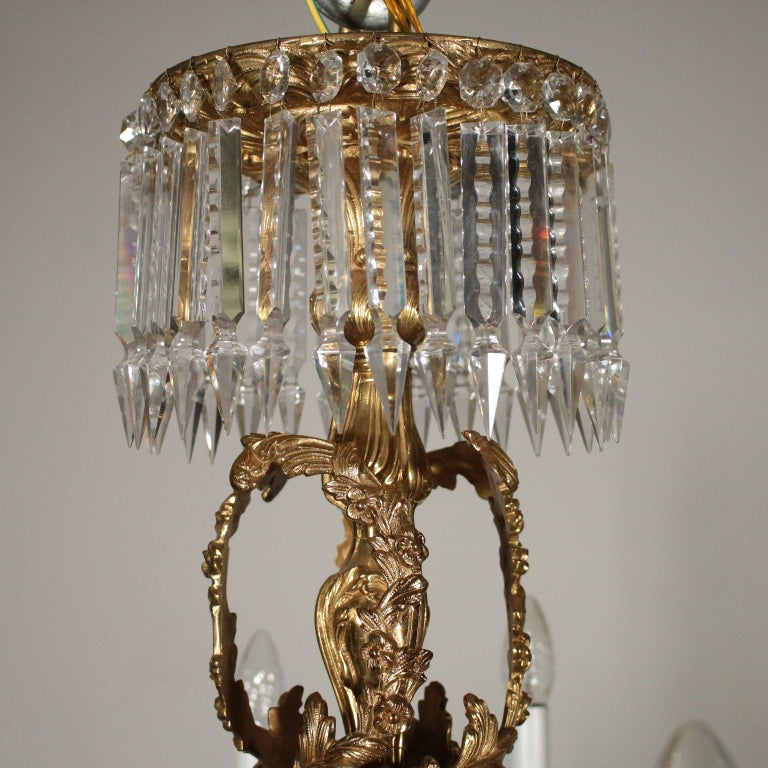 Chandelier with Crystal Drops, Italy, 20th Century In Good Condition For Sale In Milano, IT