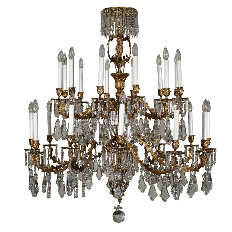 Chandelier with Crystal Drops, Italy, 20th Century For Sale
