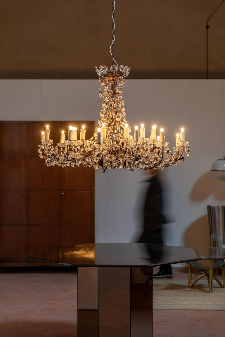 Mid-Century Modern Chandelier with Crystal Pendants For Sale