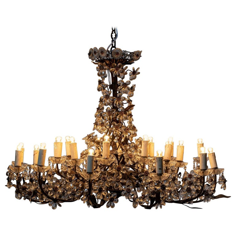 Chandelier with Crystal Pendants For Sale