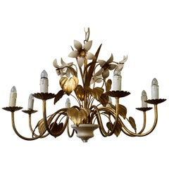 Chandelier with Golden Leaves and White Flowers