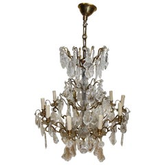 Chandelier with Tassels in Crystal and Gilt Bronze from Maison Baccarat