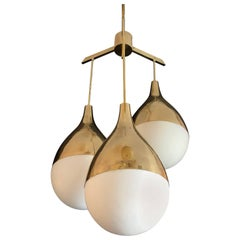 Chandelier with Three Lights, Golden Brass and Opaline Glass