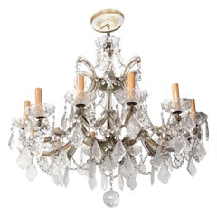 Chandelier with Twelve Arms and Crystal Ornaments
