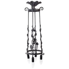 Chandelier, Wrought Iron Ceiling Light, 1930, Art Deco, 4 Lights
