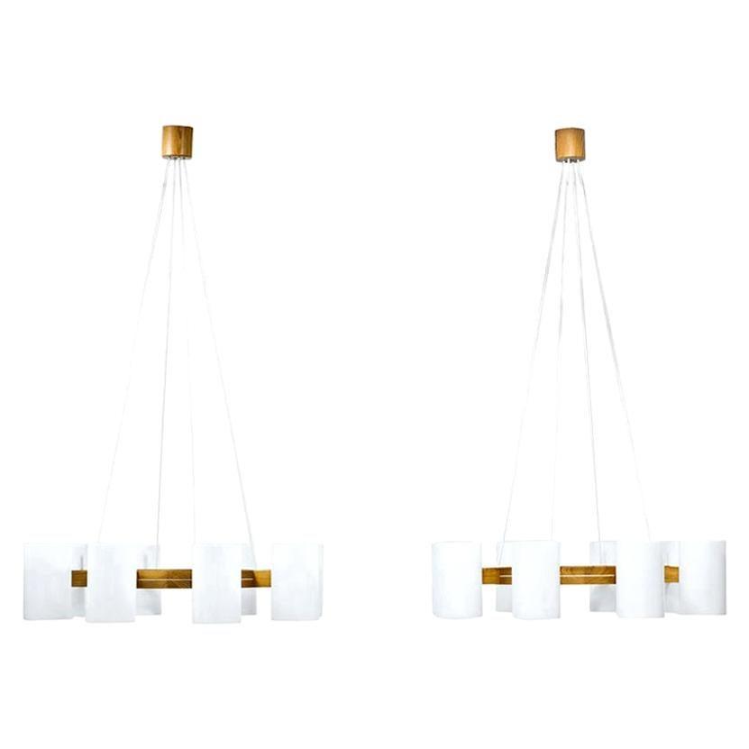 Chandeliers by Uno & Östen Kristiansson for Luxus, Sweden
