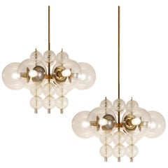 Chandeliers in Brass and Glass