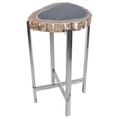 Chandler Small Table in Natural Steel by CuratedKravet