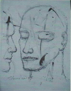 Face of a Man, figurative, Charcoal Drawing by the hugely lauded Indian Artist