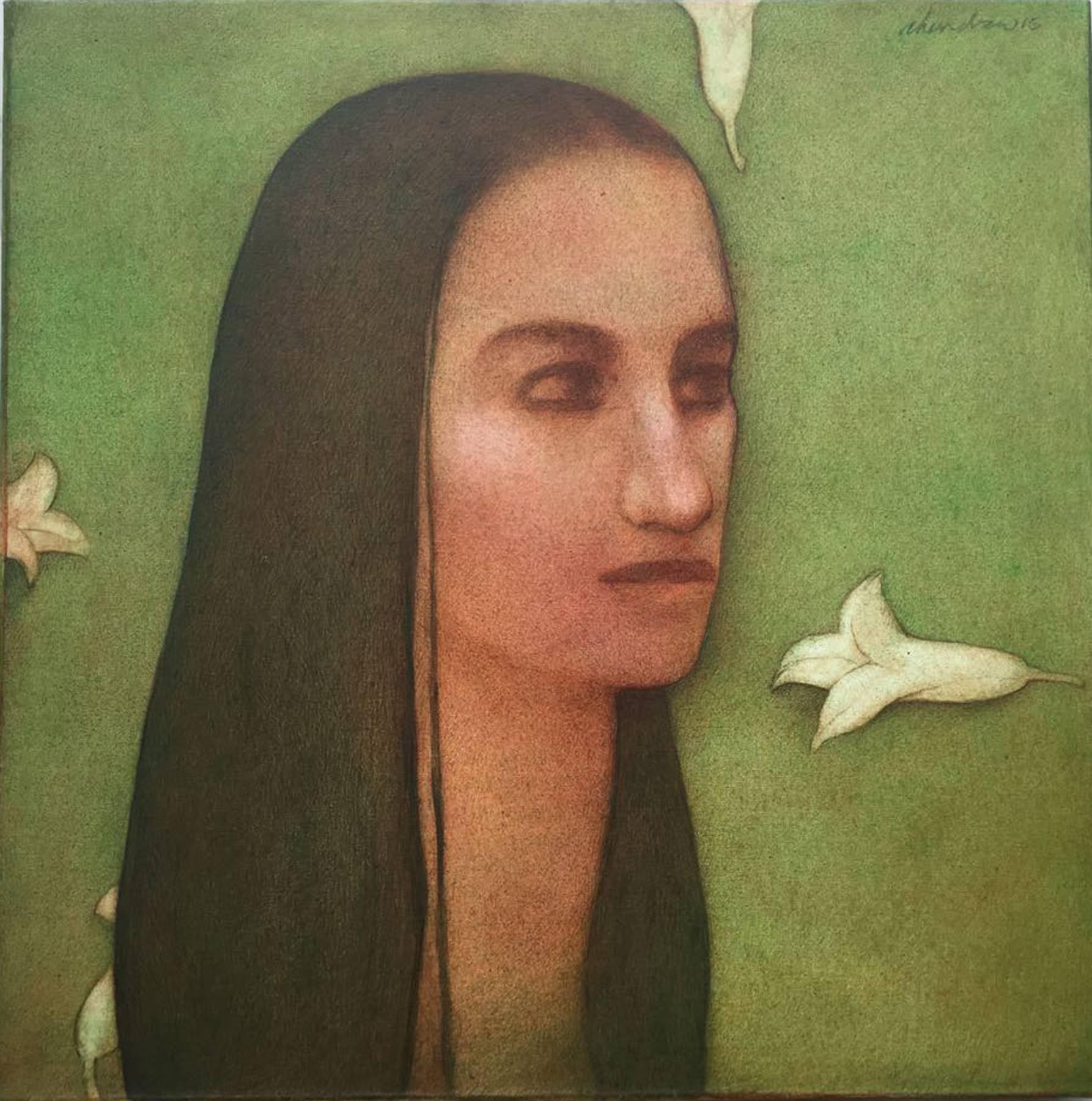 Figurative, woman with long hair, eyesight, acrylic in green, black by Chandra