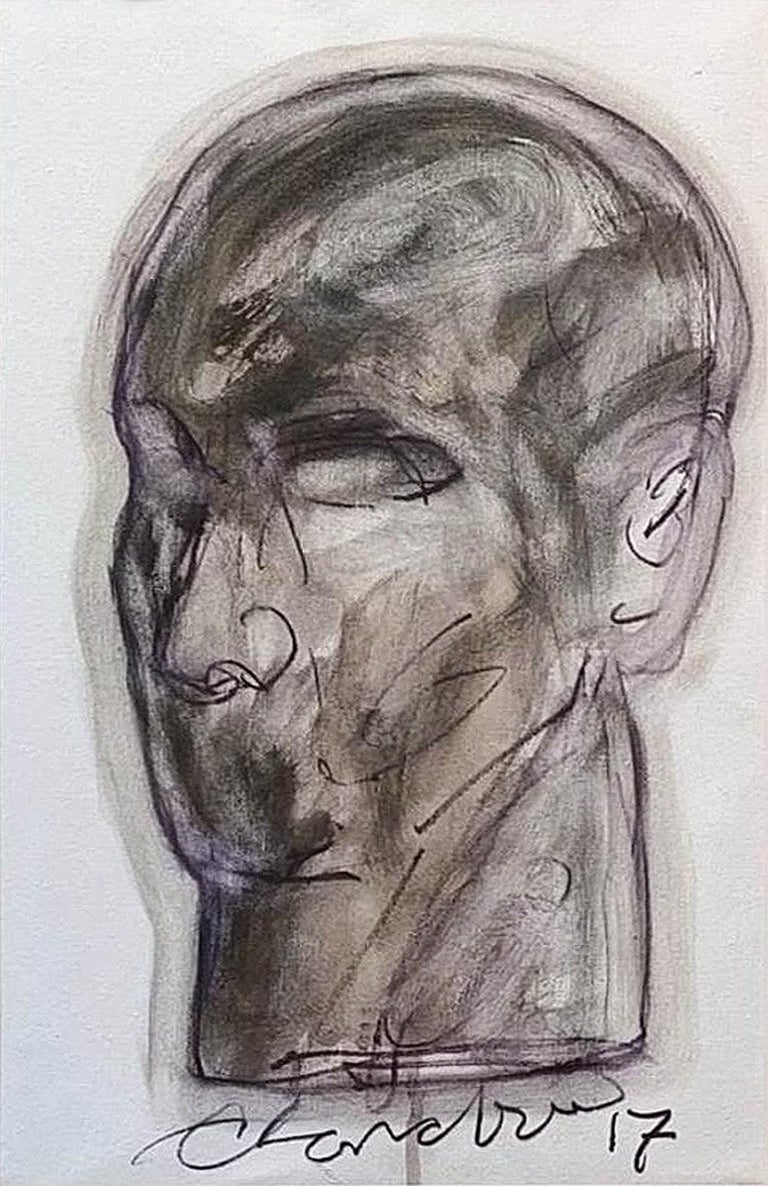 """Head, Acrylic on Canvas by Contemporary Indian Artist """"In Stock"""" - Painting by Chandra Bhattacharya"""