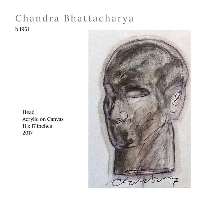 """Chandra Bhattacharya Figurative Painting - Head, Acrylic on Canvas by Contemporary Indian Artist """"In Stock"""""""