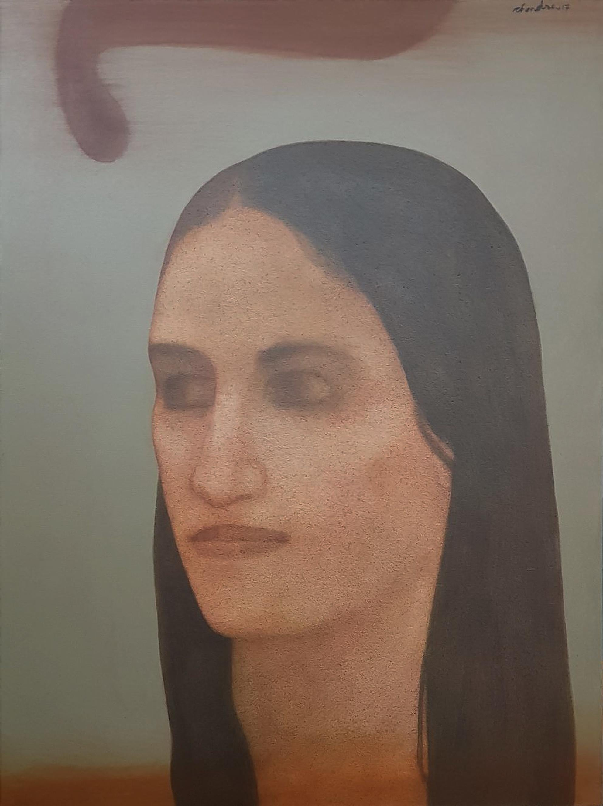 """Lady, Long Hair, Acrylic on Canvas, Brown, Famous Contemporary Artist """"In Stock"""""""