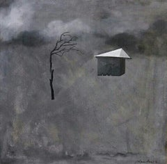 "Landscape, Tree, House, Acrylic on Canvas, Black,Grey by Indian Artist""In Stock"""