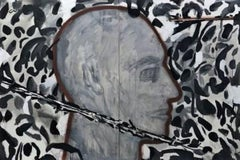 """Man, Face, Acrylic on Canvas, Black,Grey by Contemporary Indian Artist""""In Stock"""""""