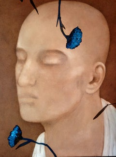 """Thinking Man, Acrylic on Canvas, Brown, Blue by Contemporary Artist """"In Stock"""""""