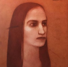 Woman with long hair, calm eyesight, figurative,red,brown by Contemporary Artist