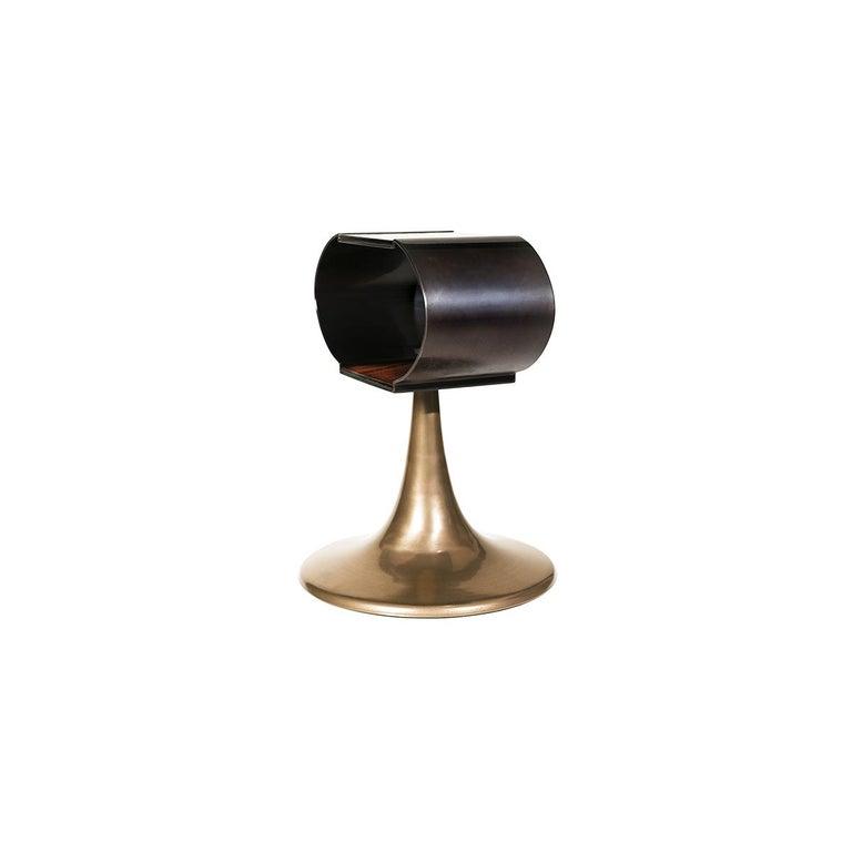 Minimalist Chandra Bronze Powdered Liquid Metal and Wood Veneer Side Table For Sale