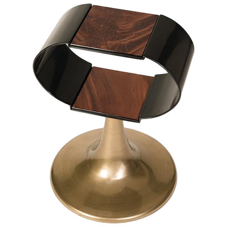 Chandra Bronze Powdered Liquid Metal and Wood Veneer Side Table For Sale