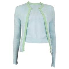 CHANE blue & green cotton Twinset Sweater 36 XS