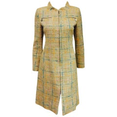 Chanel Light Tweed Coat Dress in Beige and Pastels With Zippered Closure EU 38