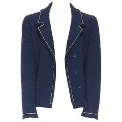 CHANEL 00A blue boucle tweed crystal strass A-line cropped blazer jacket FR42
